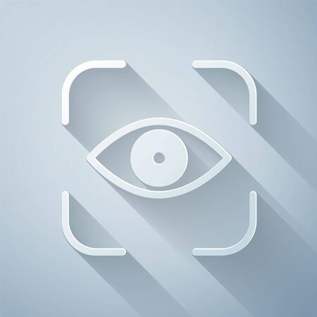 Paper cut Eye scan icon isolated on grey background. Scanning eye. Security check symbol. Cyber eye sign. Paper art style. Vector Illustration