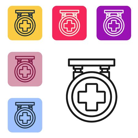 Black line Hospital signboard icon isolated on white background. Set icons in color square buttons. Vector Illustration
