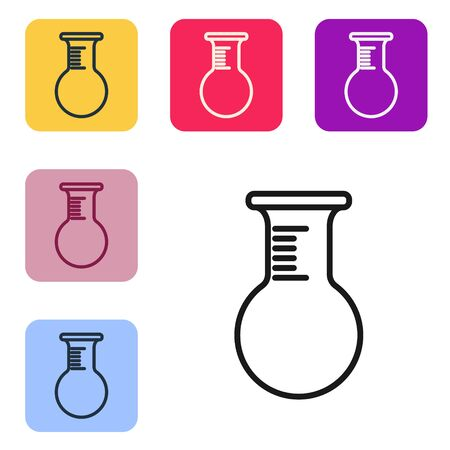 Black line Test tube and flask icon isolated on white background. Chemical laboratory test. Laboratory glassware. Set icons in color square buttons. Vector Illustration Illustration