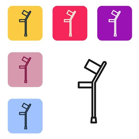 Black line Crutch or crutches icon isolated on white background. Equipment for rehabilitation of people with diseases of musculoskeletal system. Set icons in color square buttons. Vector Illustration