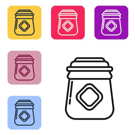 Black line Jar of honey icon isolated on white background. Food bank. Sweet natural food symbol. Set icons in color square buttons. Vector Illustration Ilustracja