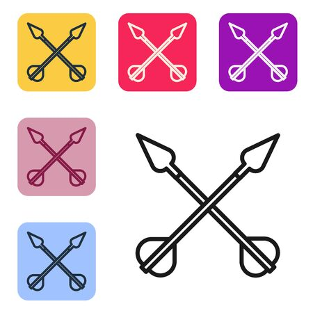 Black line Crossed arrows icon isolated on white background. Set icons in color square buttons. Vector Illustration