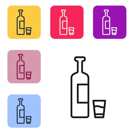 Black line Whiskey bottle and glass icon isolated on white background. Set icons in color square buttons. Vector Illustration