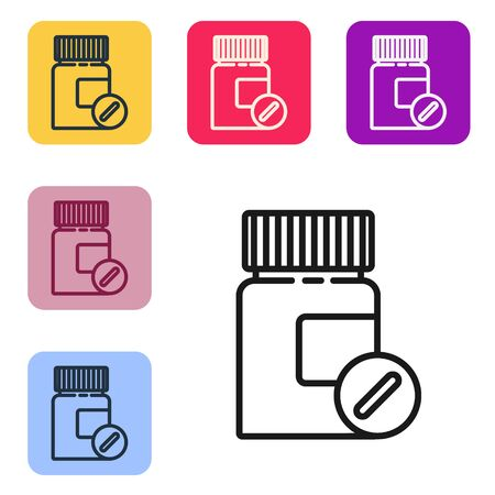 Black line Medicine bottle and pills icon isolated on white background. Bottle pill sign. Pharmacy design. Set icons in color square buttons. Vector Illustration