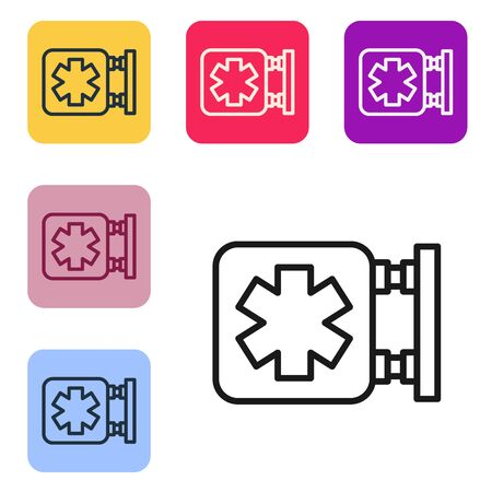 Black line Medical symbol of the Emergency - Star of Life icon isolated on white background. Set icons in color square buttons. Vector Illustration