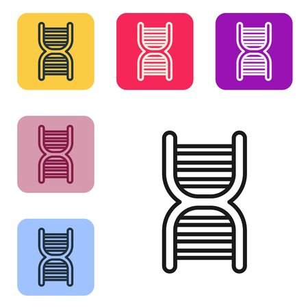 Black line DNA symbol icon isolated on white background. Set icons in color square buttons. Vector Illustration