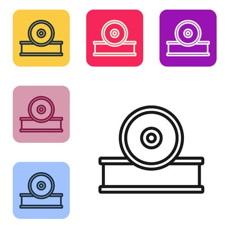 Black line Otolaryngological head reflector icon isolated on white background. Equipment for inspection the patients ear, throat and nose. Set icons in color square buttons. Vector Illustration