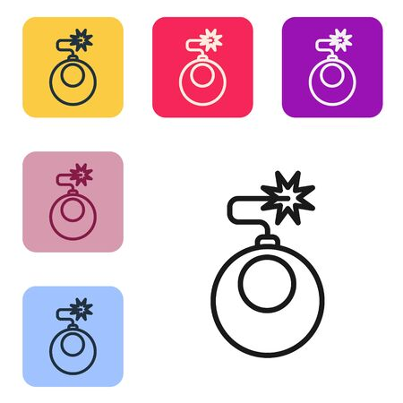 Black line Bomb ready to explode icon isolated on white background. Set icons in color square buttons. Vector Illustration Ilustração