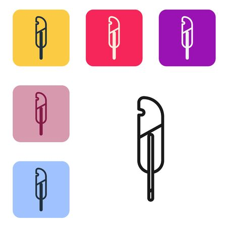 Black line Feather pen icon isolated on white background. Set icons in color square buttons. Vector Illustration