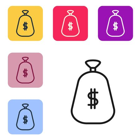 Black line Money bag icon isolated on white background. Dollar or USD symbol. Cash Banking currency sign. Set icons in color square buttons. Vector Illustration