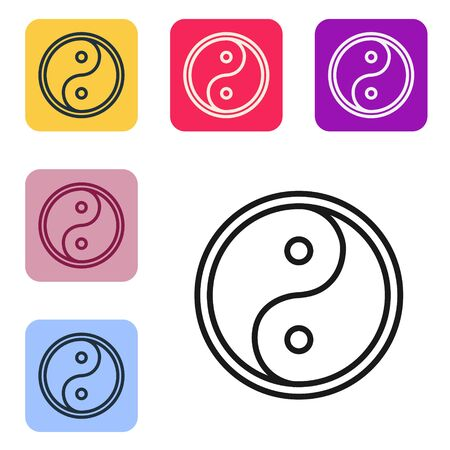 Black line Yin Yang symbol of harmony and balance icon isolated on white background. Set icons in color square buttons. Vector Illustration 矢量图像