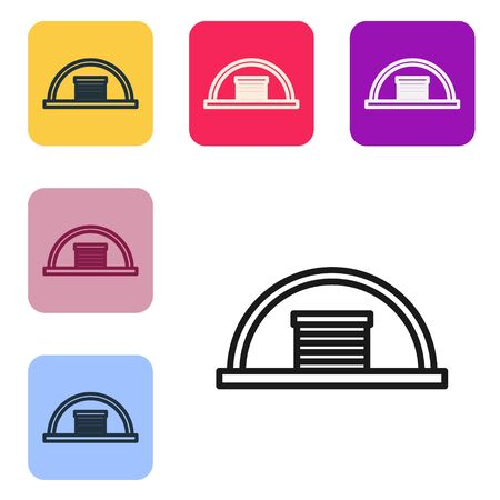 Black line Hangar icon isolated on white background. Set icons in color square buttons. Vector Illustration Illusztráció