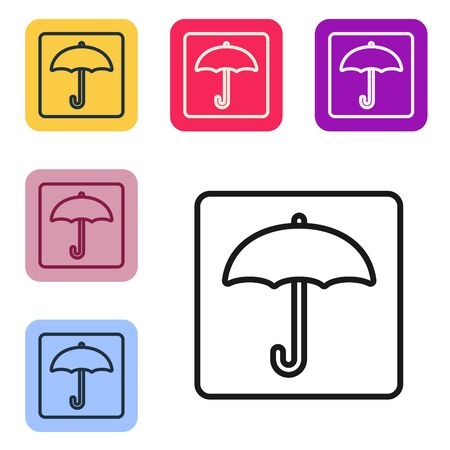 Black line Umbrella icon isolated on white background. Waterproof icon. Protection, safety, security concept. Water resistant symbol. Set icons in color square buttons. Vector Illustration