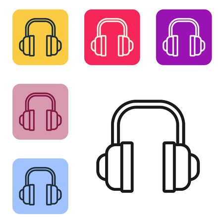 Black line Headphones icon isolated on white background. Support customer service, hotline, call center, faq, maintenance. Set icons in color square buttons. Vector Illustration Archivio Fotografico - 140466088