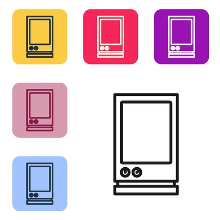Black line Voice assistant icon isolated on white background. Voice control user interface smart speaker. Set icons in color square buttons. Vector Illustration
