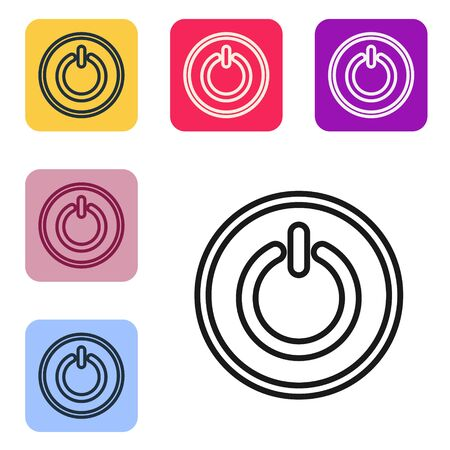 Black line Power button icon isolated on white background. Start sign. Set icons in color square buttons. Vector Illustration