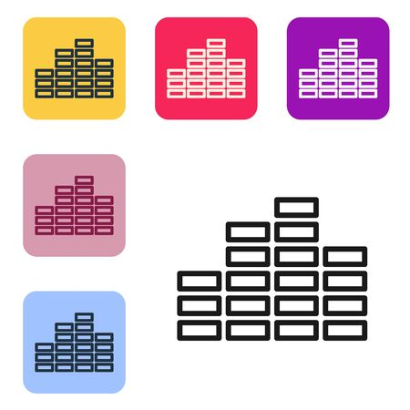 Black line Music equalizer icon isolated on white background. Sound wave. Audio digital equalizer technology, console panel, pulse musical. Set icons in color square buttons. Vector Illustration Stock Illustratie