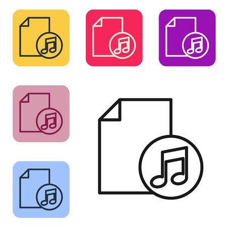 Black line Music book with note icon isolated on white background. Music sheet with note stave. Notebook for musical notes. Set icons in color square buttons. Vector Illustration