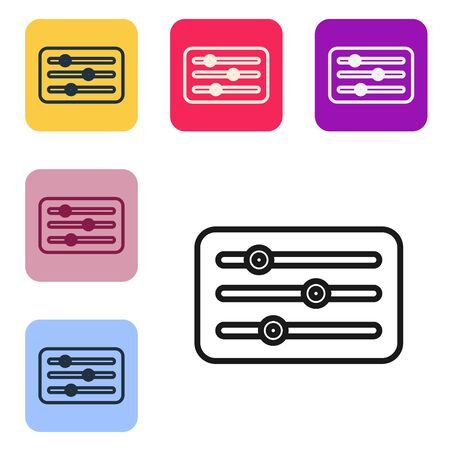 Black line Sound mixer controller icon isolated on white background. Dj equipment slider buttons. Mixing console. Set icons in color square buttons. Vector Illustration Векторная Иллюстрация