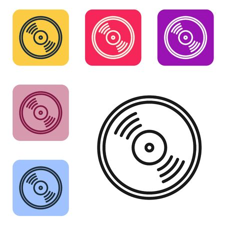 Black line Vinyl disk icon isolated on white background. Set icons in color square buttons. Vector Illustration Stock Illustratie