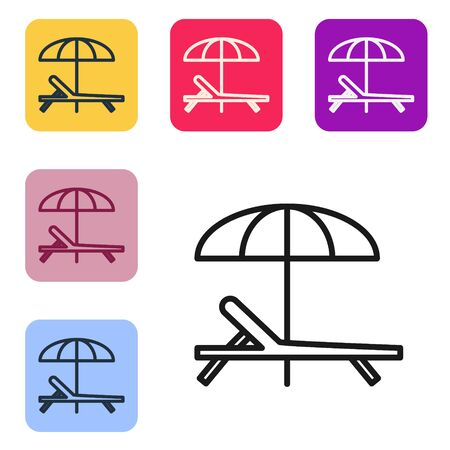 Black line Sunbed icon isolated on white background. Beach umbrella and Sun lounger. Set icons in color square buttons. Vector Illustration Ilustração