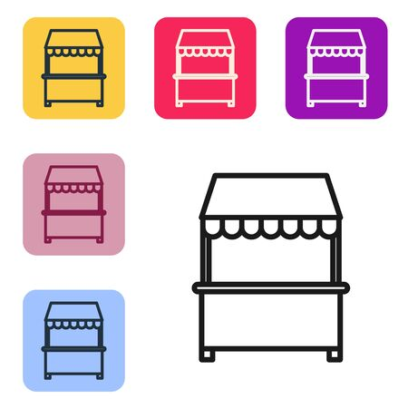Black line Street stall with awning and wooden rack icon isolated on white background. Kiosk with wooden rack. Set icons in color square buttons. Vector Illustration