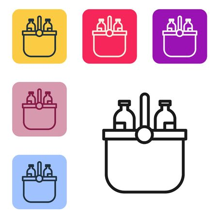 Black line Cooler bag and water icon isolated on white background. Portable freezer bag. Handheld refrigerator. Set icons in color square buttons. Vector Illustration