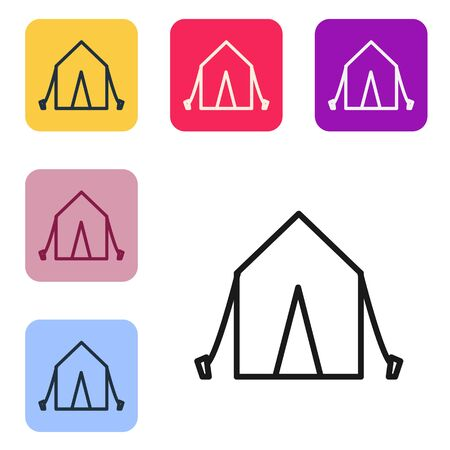 Black line Tourist tent icon isolated on white background. Camping symbol. Set icons in color square buttons. Vector Illustration