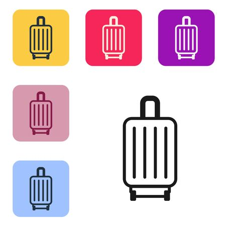 Black line Suitcase for travel icon isolated on white background. Traveling baggage sign. Travel luggage icon. Set icons in color square buttons. Vector Illustration