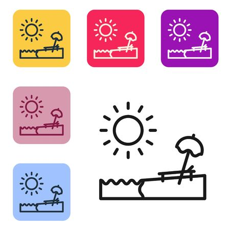 Black line Beach with umbrella and chair icon isolated on white background. Tropical beach landscape. Good sunny day. Set icons in color square buttons. Vector Illustration Ilustração