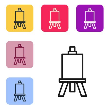 Black line Wood easel or painting art boards icon isolated on white background. Set icons in color square buttons. Vector Illustration