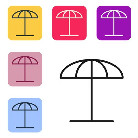 Black line Sun protective umbrella for beach icon isolated on white background. Large parasol for outdoor space. Beach umbrella. Set icons in color square buttons. Vector Illustration
