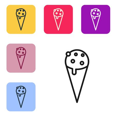 Black line Ice cream in waffle cone icon isolated on white background. Sweet symbol. Set icons in color square buttons. Vector Illustration Illustration