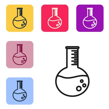 Black line Oil petrol test tube icon isolated on white background. Set icons in color square buttons. Vector Illustration