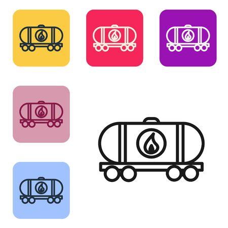 Black line Oil railway cistern icon isolated on white background. Train oil tank on railway car. Rail freight. Oil industry. Set icons in color square buttons. Vector Illustration