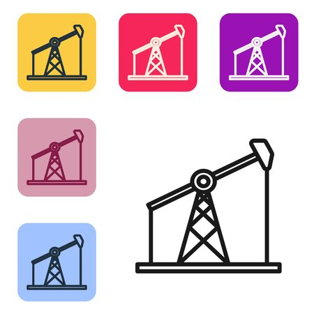 Black line Oil pump or pump jack icon isolated on white background. Oil rig. Set icons in color square buttons. Vector Illustration