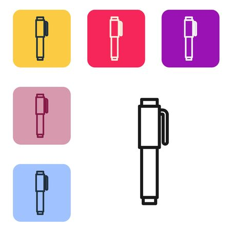 Black line Pen icon isolated on white background. Set icons in color square buttons. Vector Illustration