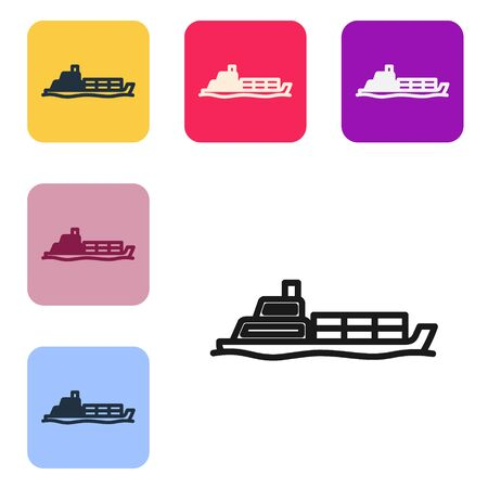 Black line Oil tanker ship icon isolated on white background. Set icons in color square buttons. Vector Illustration