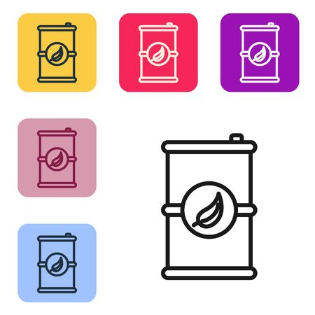 Black line Bio fuel barrel icon isolated on white background. Eco bio and canister. Green environment and recycle. Set icons in color square buttons. Vector Illustration