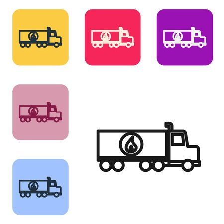 Black line Tanker truck icon isolated on white background. Petroleum tanker, petrol truck, cistern, oil trailer. Set icons in color square buttons. Vector Illustration Stock Illustratie