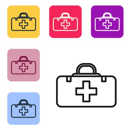 Black line First aid kit icon isolated on white background. Medical box with cross. Medical equipment for emergency. Healthcare concept. Set icons in color square buttons. Vector Illustration