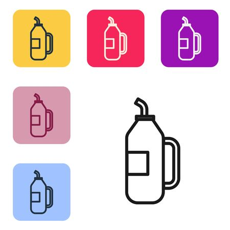 Black line Fitness shaker icon isolated on white background. Sports shaker bottle with lid for water and protein cocktails. Set icons in color square buttons. Vector Illustration