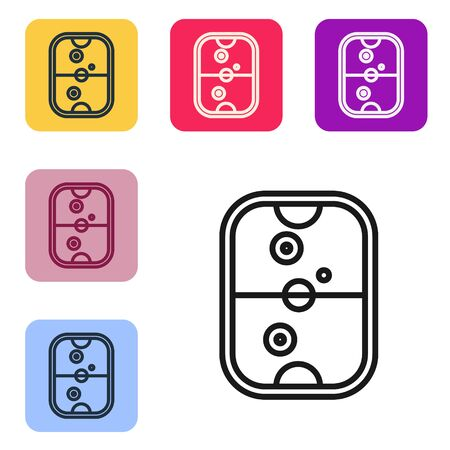 Black line Air hockey table icon isolated on white background. Set icons in color square buttons. Vector Illustration Ilustrace