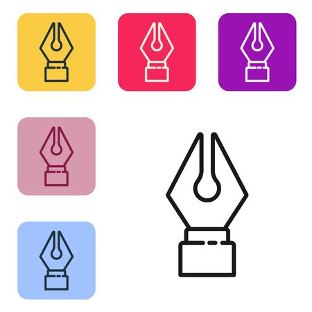 Black line Fountain pen nib icon isolated on white background. Pen tool sign. Set icons in color square buttons. Vector Illustration