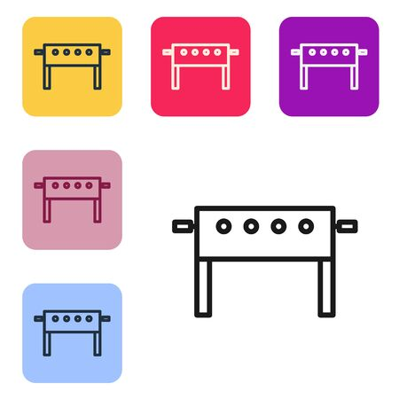Black line Hockey table icon isolated on white background. Set icons in color square buttons. Vector Illustration