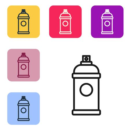 Black line Paint spray can icon isolated on white background. Set icons in color square buttons. Vector Illustration