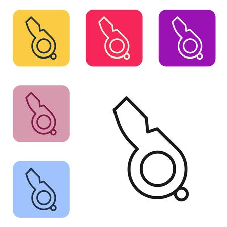 Black line Whistle icon isolated on white background. Referee symbol. Fitness and sport sign. Set icons in color square buttons. Vector Illustration Ilustrace