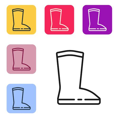 Black line Waterproof rubber boot icon isolated on white background. Gumboots for rainy weather, fishing, gardening. Set icons in color square buttons. Vector Illustration 일러스트