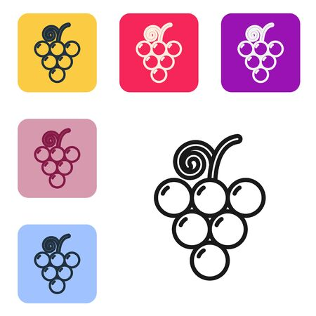 Black line Grape fruit icon isolated on white background. Set icons in color square buttons. Vector Illustration