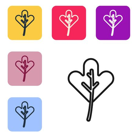 Black line Leaf icon isolated on white background. Leaves sign. Fresh natural product symbol. Set icons in color square buttons. Vector Illustration